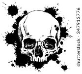 hand drawn human skull with...   Shutterstock .eps vector #347913776