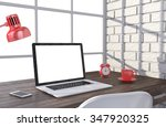 3d illustration laptop and work ... | Shutterstock . vector #347920325