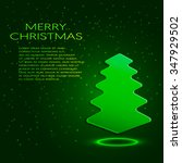 green paper christmas tree with ... | Shutterstock .eps vector #347929502