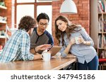 group of joyful positive... | Shutterstock . vector #347945186