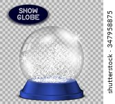 blue snow globe transparent and ... | Shutterstock .eps vector #347958875