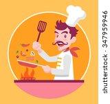 chef is cooking. vector flat...   Shutterstock .eps vector #347959946