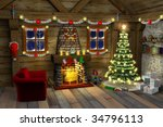 Chistmas 3d House Illustration