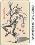 ancient joker play card | Shutterstock .eps vector #34796800