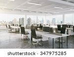 modern open space office with... | Shutterstock . vector #347975285