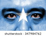 human face painted with flag of ... | Shutterstock . vector #347984762