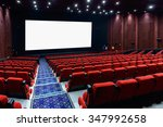 empty movie theater with red... | Shutterstock . vector #347992658