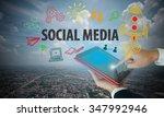 businessman hand on tablet show ... | Shutterstock . vector #347992946