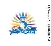 5th anniversary ribbon logo... | Shutterstock .eps vector #347994965