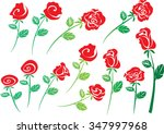 vector rose set | Shutterstock .eps vector #347997968