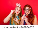 young nice girls have fun on a... | Shutterstock . vector #348006398