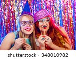 young nice girls have fun on a... | Shutterstock . vector #348010982