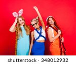 young nice girls have fun on a... | Shutterstock . vector #348012932