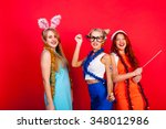 young nice girls have fun on a... | Shutterstock . vector #348012986