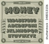 vintage money font with shadow. ... | Shutterstock .eps vector #348013106