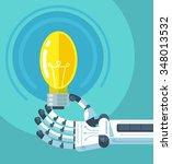 robot hand holding light bulb....   Shutterstock .eps vector #348013532