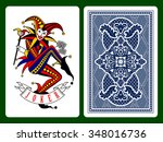 joker playing card and dark... | Shutterstock .eps vector #348016736