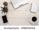 office table with cup of coffee ... | Shutterstock . vector #348024446