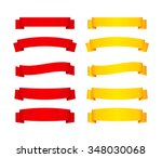 set of red and yellow ribbon... | Shutterstock .eps vector #348030068