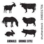 farm animals. set of vector... | Shutterstock .eps vector #348031706