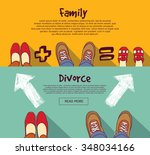 family foots standing in line.... | Shutterstock .eps vector #348034166