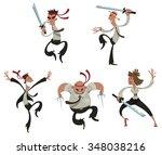 set of cartoon office people in ... | Shutterstock .eps vector #348038216