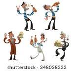 set of cartoon funny sailors... | Shutterstock .eps vector #348038222