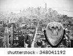 binoculars over manhattan... | Shutterstock . vector #348041192