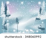illustration with deer in... | Shutterstock .eps vector #348060992