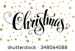 christmas postcard with golden... | Shutterstock .eps vector #348064088