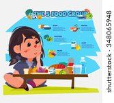 cute little girl with five food ... | Shutterstock .eps vector #348065948