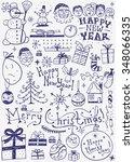 winter holidays doodles | Shutterstock .eps vector #348066335