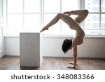 beautiful young gymnast... | Shutterstock . vector #348083366
