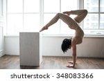 beautiful young gymnast...   Shutterstock . vector #348083366
