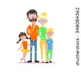 happy family with parents... | Shutterstock .eps vector #348084362
