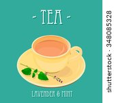 tea with lavender and mint ... | Shutterstock .eps vector #348085328