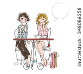 women chat in the cafe | Shutterstock .eps vector #348086258
