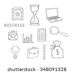 hand drawn doodle business... | Shutterstock .eps vector #348091328
