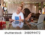 young happy women photographing ... | Shutterstock . vector #348094472