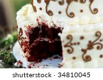 Small photo of Close-up of a red velvet wedding cake, just after the Bride and Groom have cut the first slice.