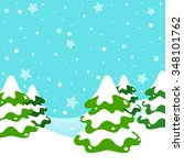 winter landscape with snowy... | Shutterstock .eps vector #348101762