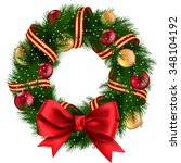 christmas wreath with ribbons ...