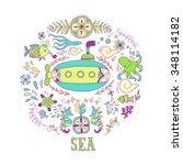 sea adventure. vector background   Shutterstock .eps vector #348114182