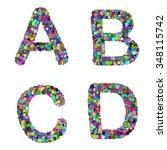 the alphabet letter a b c d is... | Shutterstock .eps vector #348115742