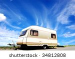 Vintage caravan on a street - stock photo