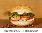 appetizing burger closeup on... | Shutterstock . vector #348132902