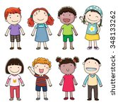 collection of happy children | Shutterstock .eps vector #348133262