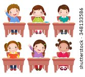 collection of school kids... | Shutterstock .eps vector #348133586