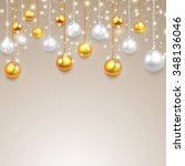 background with christmas balls.... | Shutterstock .eps vector #348136046