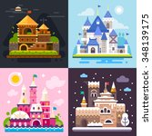 four awesome fairytale castles... | Shutterstock .eps vector #348139175